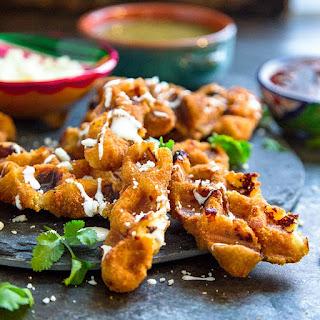 Wafflized Mozzarella Sticks with Salsa.