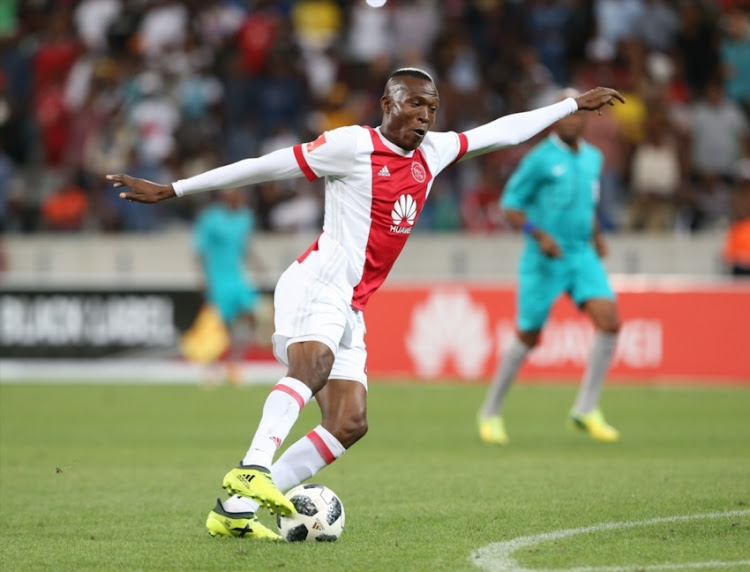 Tendai Ndoro of Ajax CT during the Absa Premiership match between Ajax Cape Town and Orlando Pirates at Cape Town Stadium on January 31, 2018 in Cape Town.