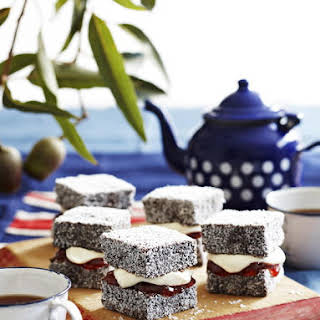 Lamingtons with Jam and Whipped Cream.