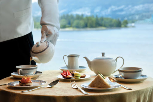 Afternoon high tea service at Horizons on Oceania Cruises.