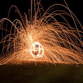 Sparks by Mel Stratton - Abstract Light Painting ( orange, steel, wool, sparks, fire,  )