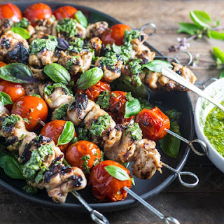 Grilled Lemon-Garlic Chicken and Tomato Kebabs With Basil Chimichurri.