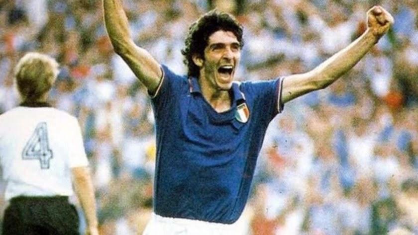 La estrella italiana celebrando un gol en el Mundial de España.