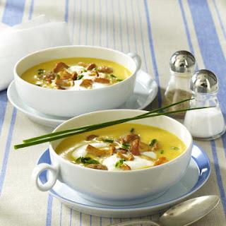 Potato Soup with Chanterelles and Meatballs.