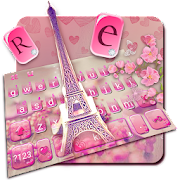 Free Download Pink Crystal Girl Eiffel Keyboard Theme APK for Samsung