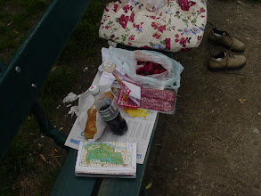 "Photo: Our picnic lunch: bread, sausage, cheese, and strawberries - just like the locals! Of course, Parisians are unlikely to be found with Coke Light, instead of wine, and the international edition of USA Today pretty much shouts ""tourists!"""