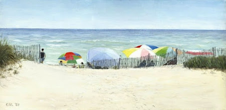 Photo: UMBRELLAS - oil on linen - $1100 ... Emerald Isle, North Carolina.
