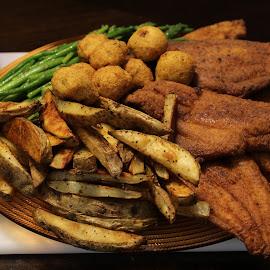 Sunday Dinner Catfish Platter by Rohan Jackson - Food & Drink Plated Food ( platter, hush puppies, potato, dinner, catfish )