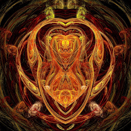 The Devil's Hourglass by Peggi Wolfe - Illustration Abstract & Patterns ( digital, gift, color, wolfepaw, jwildfire, bright, pattern, devil, abstract, décor, orange, print, halloween, unique, hourglass, fractal, illustration, unusual, fun )