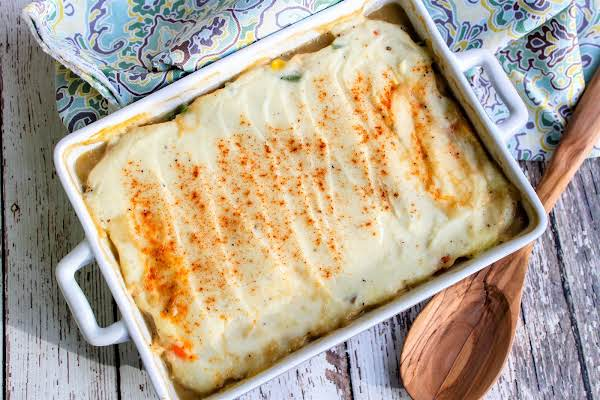 Shepherdess' Pie With Golden Brown Mashed Potatoes On Top.
