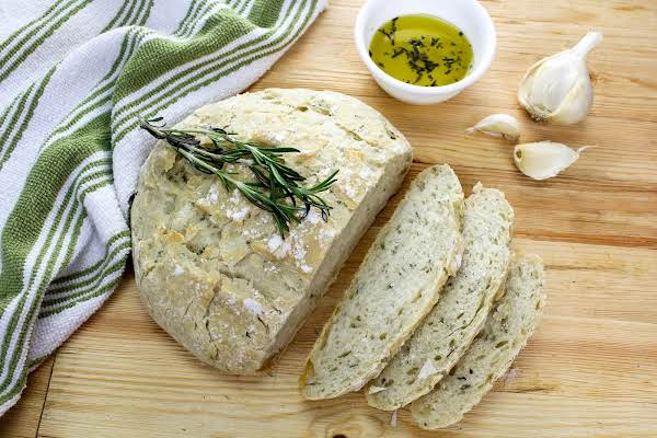 Rosemary Bread Cut Into Slices.