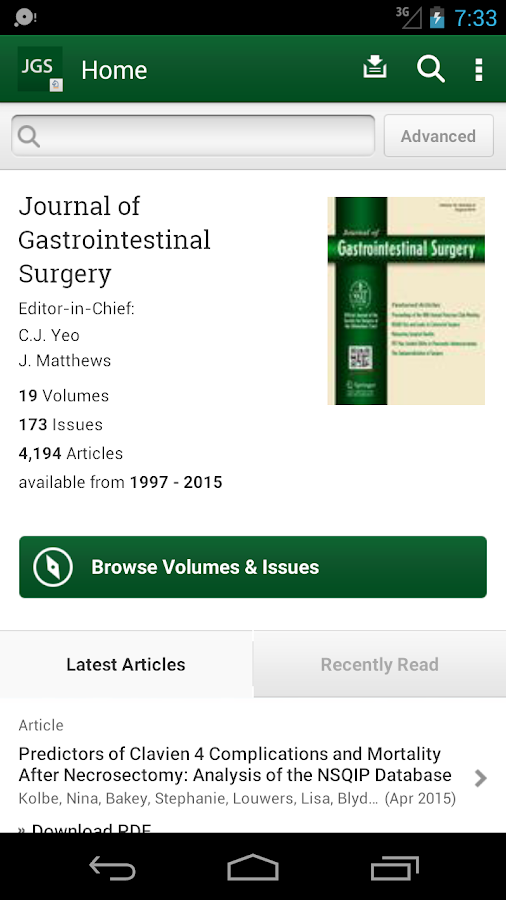 J of Gastrointestinal Surgery- screenshot