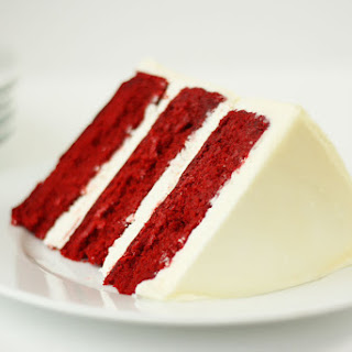Red Velvet Cake with White Chocolate Cream Cheese Frosting.