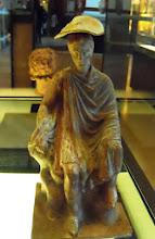 Photo: Terracotta young man with a cage 330-300 BC .......... Jongeman met kooi, terracotta, 330-300 v.C.