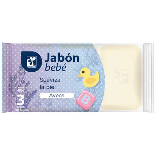 jabon barra farmatodo bebe avena 150gr x3und