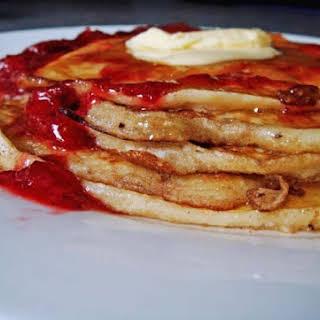 Scotch Pancakes with Strawberry Sauce.