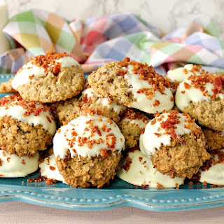 Best Ever Gluten Free Maple Bacon Oatmeal Cookies Dipped in White Chocolate.
