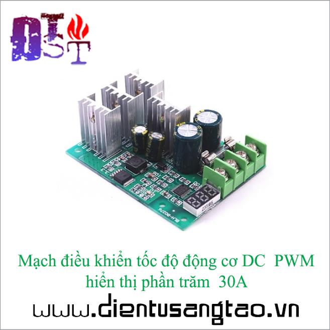 Mạch điều khiển tốc độ động cơ DC PWM hiển thị phần trăm 30A