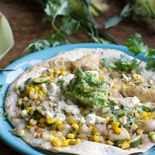 Summer Chicken Tostada with Corn Zucchini and Avocado Lime Salsa