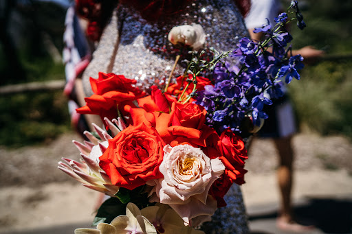 Micro Australian Beach Wedding with a Silver Sequin Dress