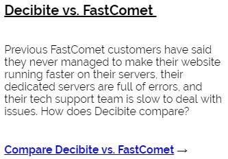 Decibite vs FastComet