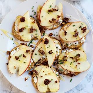 Goat Cheese, Honey Crisp Apples, Honey, Rosemary Thins.