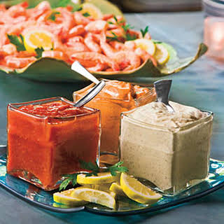 Peel-and-Eat Shrimp With Dipping Sauces.