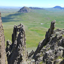 Photo: Looking down from Birdtail Butte - I climbed to within 20 feet of the summit. The last 20 feet were too scary. Nice view of Haystack Butte with Fishback Butte partially hidden.