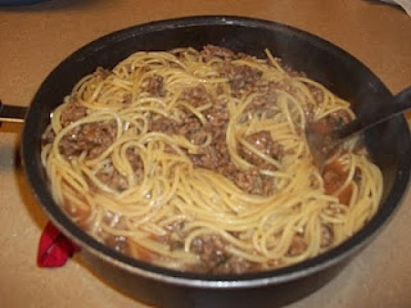 Brown ground beef in medium pan (medium heat).