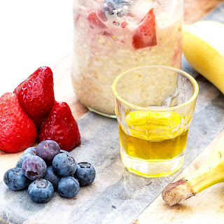 Banana, Strawberries And Blueberries Overnight Oats.