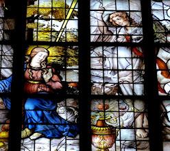 Photo: Die Goudaer Glasfenster 5:  Fenster X, Detail: Ankündigung der Geburt Jesu. (1559)