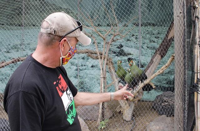 En la zona de aves, José Mª Rodríguez muestra la belleza de los Turacos.