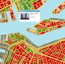 Photo: [2011 ©-Stichting Rotterdam Woont - uitvoering: Maps+Motion] - http://www.rotterdamwoont.nl - met dit en het vorige kaartje wordt het nog duidelijker: de twee woontorens Neptunus en Poseidon vallen op de vorige kaart samen met de Strekdam en op de volgende kaart is de situatie anno 2008 te zien - het tweede rondje naar rechts (groen) geeft aan waar het nieuw gebouwde (en ook alweer afgebroken) woningcomplex Tolhuispoort stond: op deze kaart uit 2008 toch aanzienlijk verder van het water dan op de (vorige) kaart uit 1850 - het eerste rondje naar rechts (ook groen) is overigens het Citex wooncomplex - het derde rondje naar rechts (blauw) is het Deliplein - de twee daaropvolgende blauwe rondjes naar rechts zijn de woontorens Montevideo en New Orleans - en het eerste rondje naar links (blauw) is de Hoge Maas op het Charloisse Hoofd.