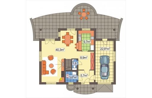 Ala II wersja A z pojedyńczym garażem - Rzut parteru