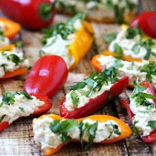 Stuffed Mini Peppers with Vegan Garlic Cashew Spread (Raw, Vegan, Gluten-Free, Dairy-Free, No-Cook, Paleo-Friendly).
