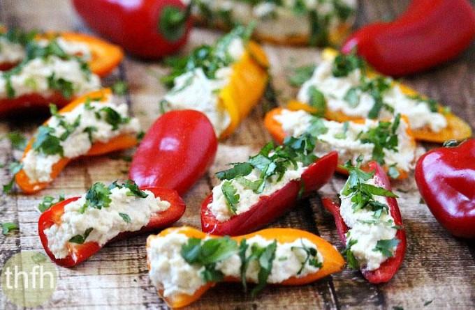 Stuffed Mini Peppers with Vegan Garlic Cashew Spread (Raw, Vegan, Gluten-Free, Dairy-Free, No-Cook, Paleo-Friendly) Recipe