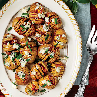 Baby Hasselback Potatoes with Blue Cheese and Bacon.