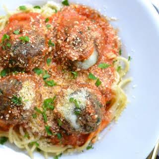 Spaghetti With Stuffed Meatballs.