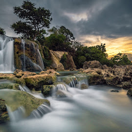 Toroan Waterfall by Eni Satriani - Landscapes Waterscapes ( sunset, waterfall, rocks )
