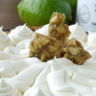 Key-Lime Pie with White-Chocolate-Coconut-Rum Cream and Macadamia-Lime Pralines.