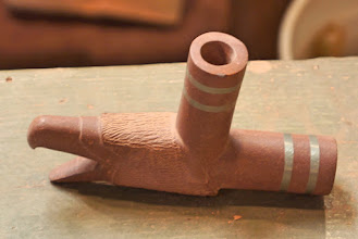 Photo: Stone pipes have been in use on the North American continent since around 1,500 B.C. and archaeological evidence suggests that the pipestone quarries of Pipestone National Monument have been in use for 3,000 years. Carvers prize this durable yet relatively soft stone, which ranges in color from mottled pink to brick red. (2016 photo)
