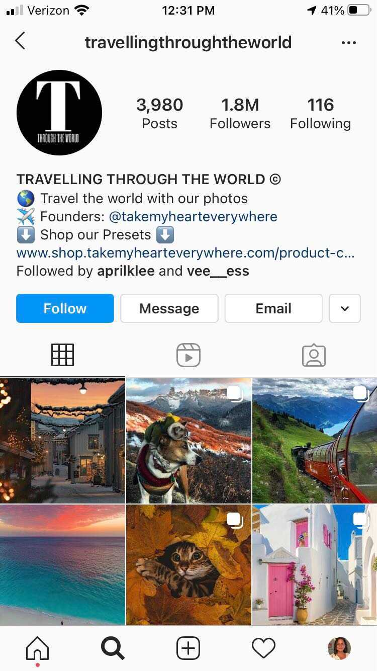travelling through the world account
