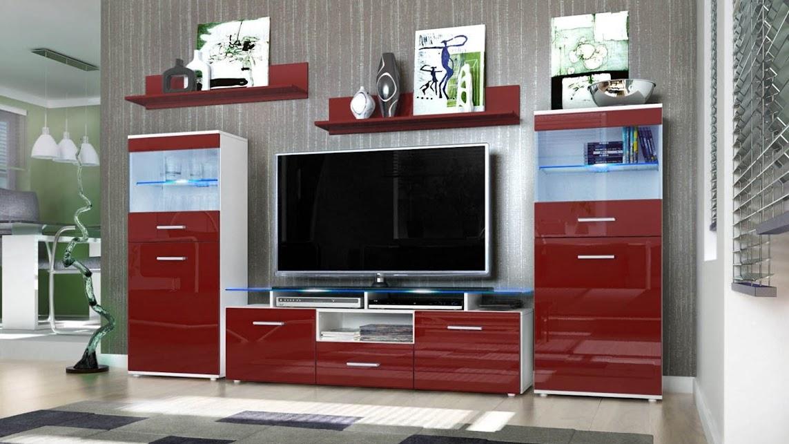 Parete porta tv moderna Agata, mobile soggiorno bianco in 13 colori ...