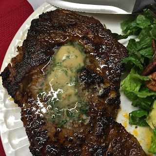 Chili-Rubbed Ribeye Steak with Maple-Bourbon Butter
