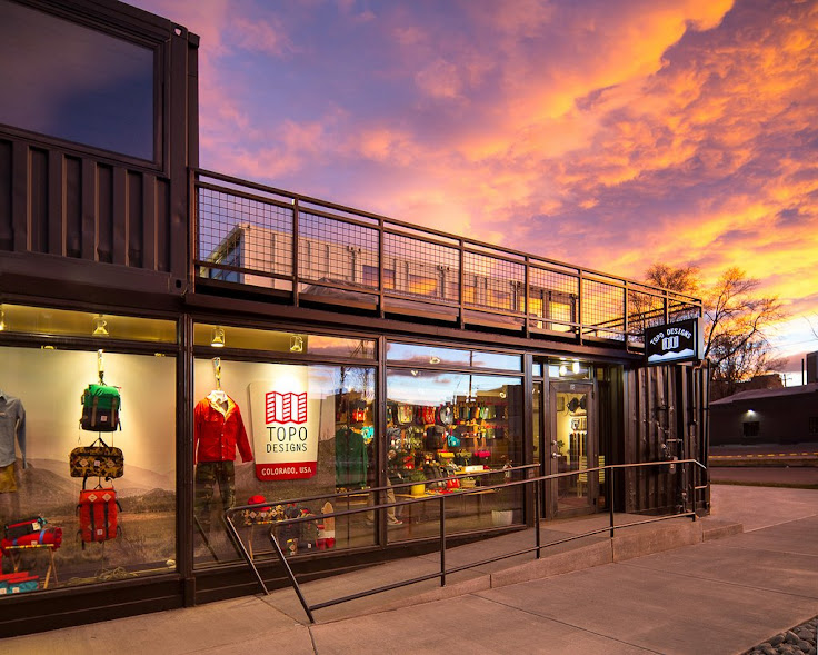 The Topo Design store from the street.