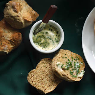 Individual Irish Soda Breads with chive butter.