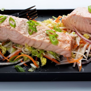 Green Tea-Poached Salmon With Asian Slaw.