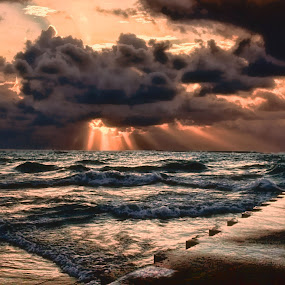 by Dennis Granzow - Landscapes Waterscapes ( dramatic clouds, lake michigan stormy seascape, heavy sea, chicago pier )