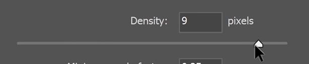 Set the Density to 9 pixels