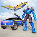 Flying Police Eagle Transform Cyber Truck Robot icon